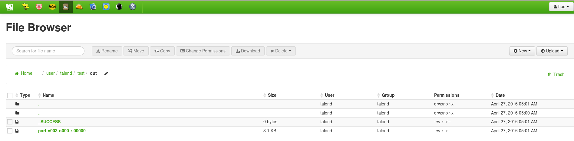 Result in File browser